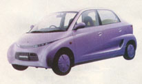 Purple prototype of a low cost future automobile or car