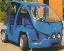 Blue prototype of a low cost future electric urban automobile or car