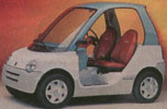 White and blue prototype of a low cost future electric automobile or car meant for city use
