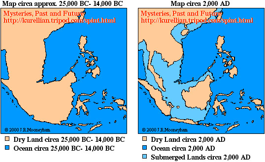 Map comparing the dry lands of the southeast asian peninsula during and after the Ice Age.