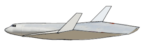 Side view of a future combination spacecraft and aircraft