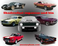 Thumbnail image of a poster of Shadowfast supercar, Batmobile, GT-40, Shelby and Boss Mustangs
