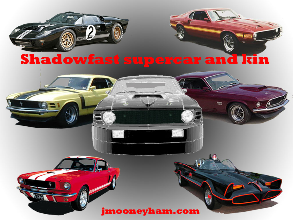 Free 1024x768 jpeg desktop wallpaper (Poster of Shadowfast supercar, Batmobile, GT-40, Shelby and Boss Mustangs)